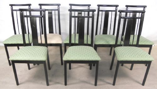 Set of Eight Highback Dark Retro Dining Chairs